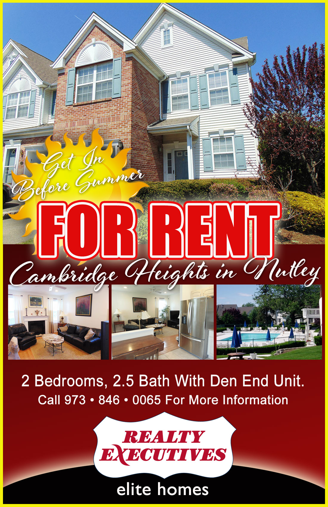 """Official Listing"""" 100 Cambridge Drive in Nutley For Rent"""