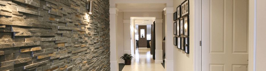 interior hallway with stone tile inlay
