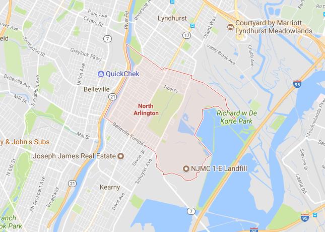 Map of North Arlington NJ