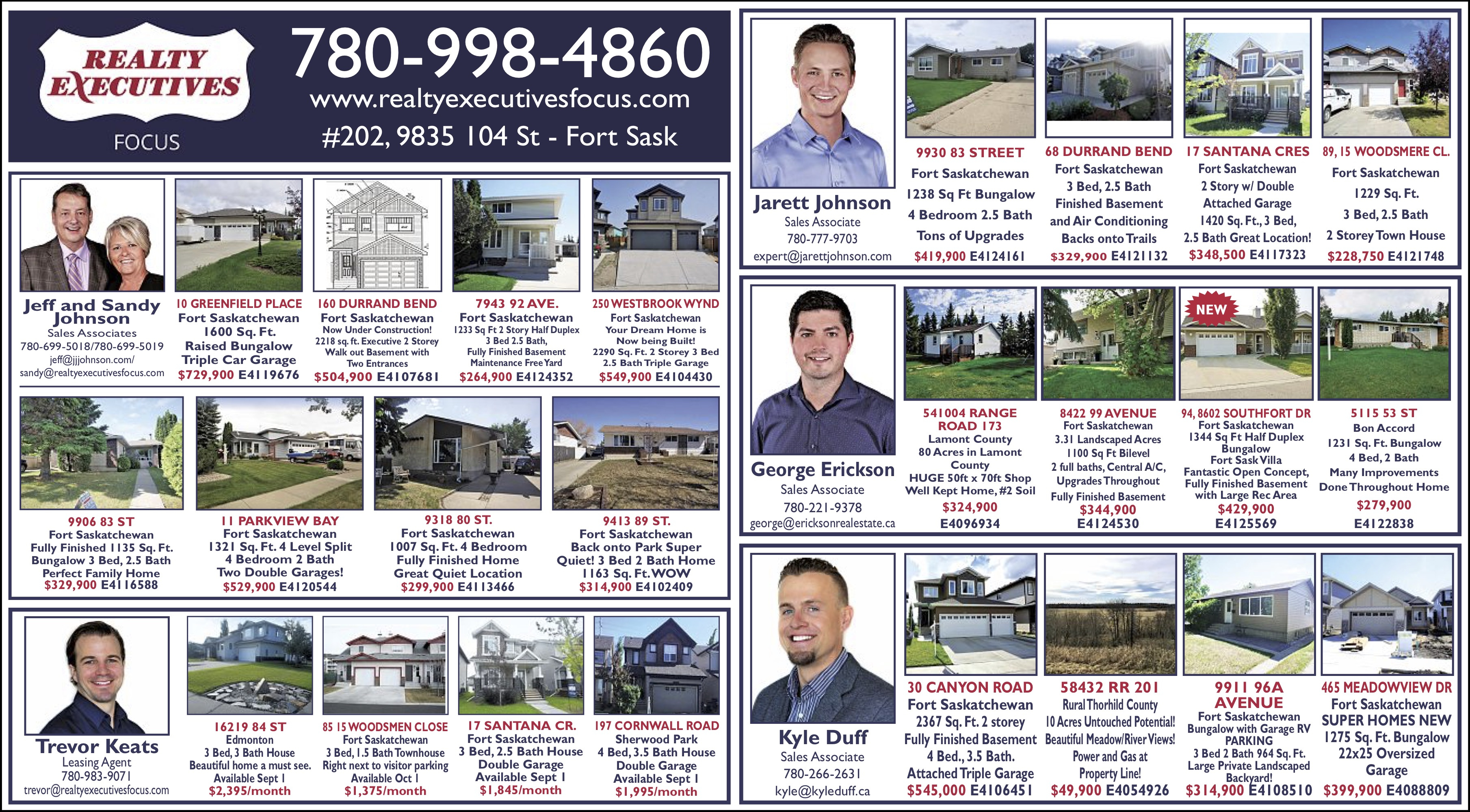 Fort Saskatchewan Real Estate Thursday August 23, 2018