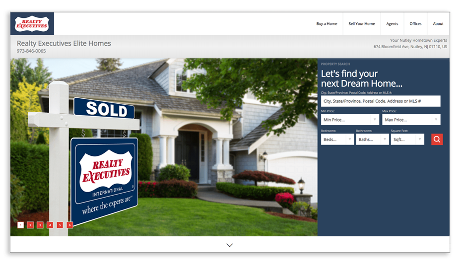 Realty Executives Elite Homes in Nutley website homepage