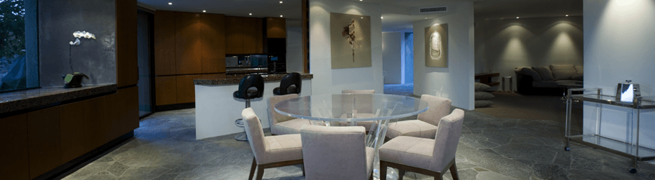luxurious open concept living dining area