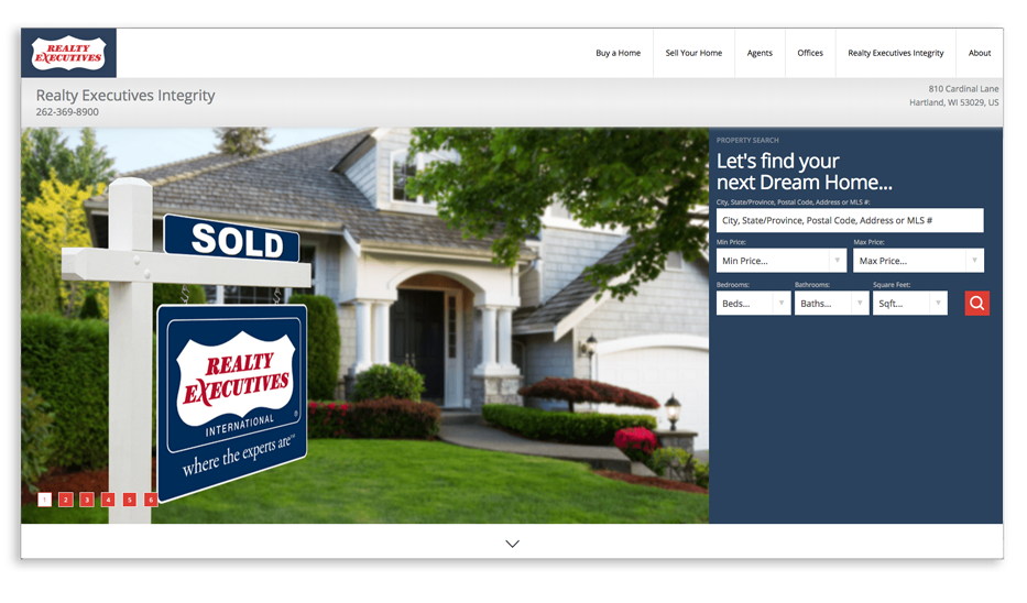 Realty Executives Integrity website homepage