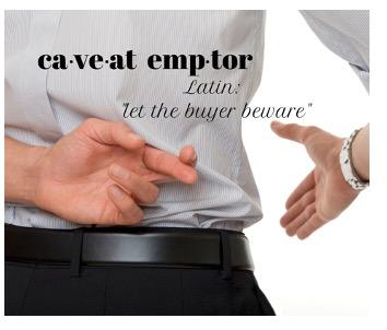 Caveat Emptor Businessman with ulterior motives